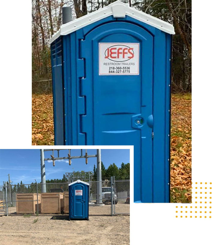 Construction Site Porta Potty rentals from Jeff's Restroom Trailer Rentals in Grand Rapids, Minnesota.